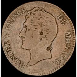 Monaco 5 Centimes 1837MC KM95.2 Cobre B+