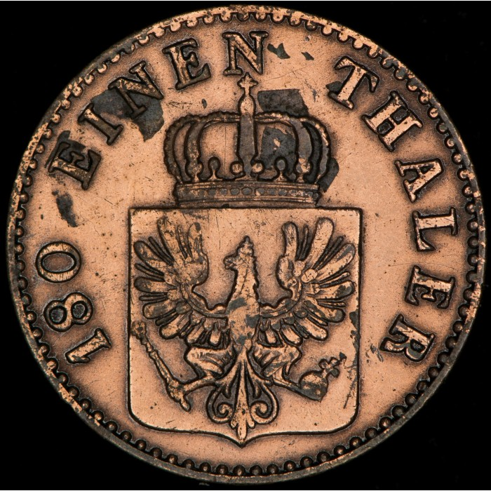 Alemania Prusia 2 Pfenning 1859A KM452a Cobre MB