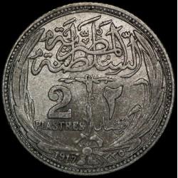 Egipto 2 Piastres 1917 KM317.1 Ag EXC-