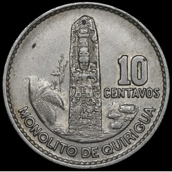 Guatemala 10 Cent 1964 KM262 Ag EXC