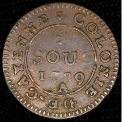 Guyana Francesa 2 Sous 1789A KM1 Cobre EXC-
