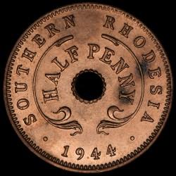 Rhodesia del Sur 1/2 Penny 1944 KM14a Cobre UNC