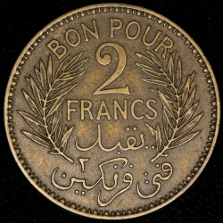 Tunez 2 Francs 1941 KM248 Bronce MB