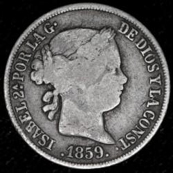 España 2 Reales 1859 KM607.2 Ag B+