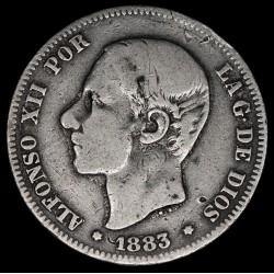 España 2 Pesetas 1883 KM678.2 Ag B