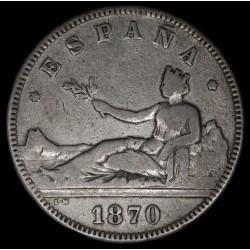 España 2 Pesetas 1870 (75) KM654 Ag MB-
