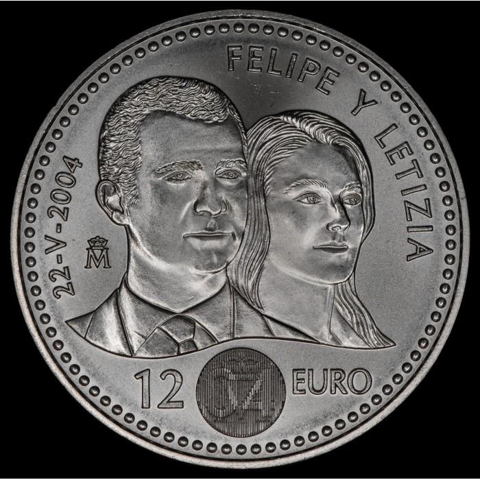 España 12 Euro 2004 Felipe y Letizia KM1069 Ag UNC