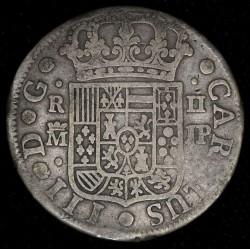 España Madrid 2 Reales 1763 JP KM388.1 Ag MB-