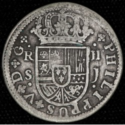 España Sevilla 2 Reales 1721 J KM307 Ag Bueno