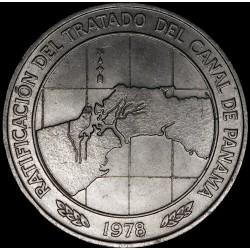 Panamá 10 Balboas 1978 KM53a Tratado Canal Cu-Ni EXC