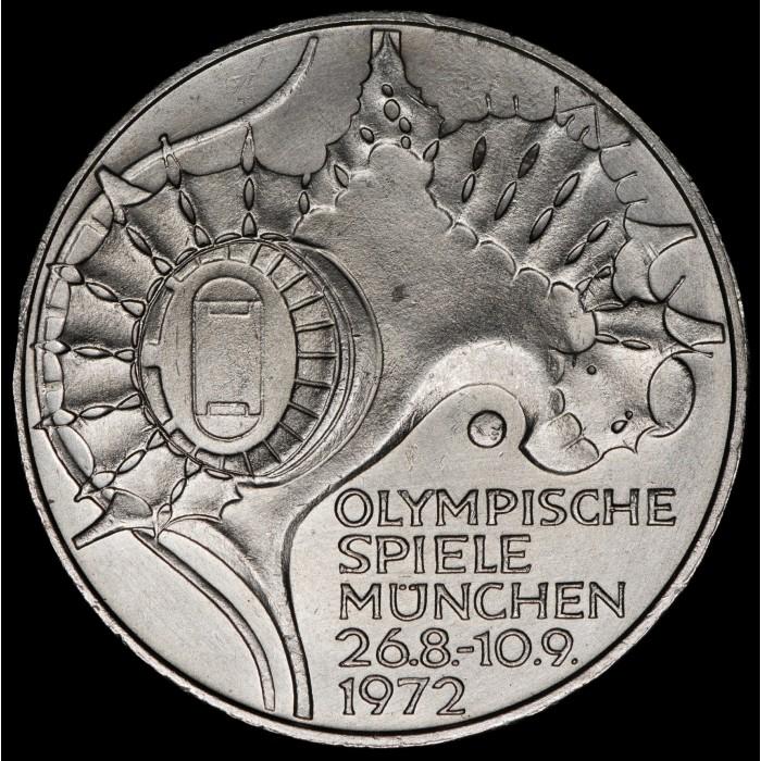 Alemania 10 Marcos 1972D KM133 Olimpiadas Munich Ag UNC
