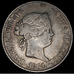 España 10 Reales 1864 KM611.2 Ag MB+
