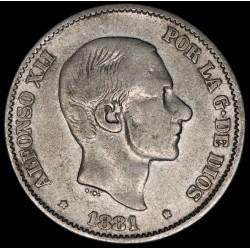 Filipinas Colonia Española 50 Cent de Peso 1881 KM150 Ag MB