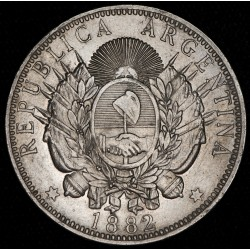 Argentina 1 Peso 1882 A4-R1 Patacon Ag EXC