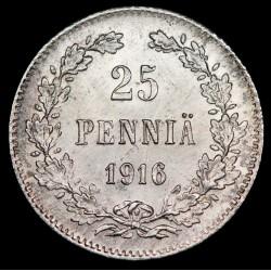 Finlandia 25 Pennia 1916 KM6.2 Ag MB+
