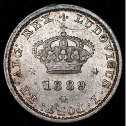 Portugal 50 Reis 1889 Ludovicus I KM506.1 Ag EXC-