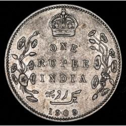 India Britanica 1 Rupia 1909C KM508 Ag MB