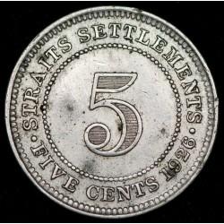 Straits Settlements 5 Centavos 1926 KM36 Ag MB+
