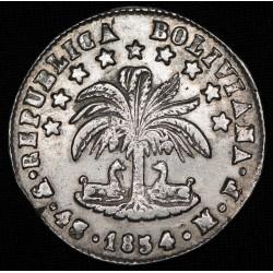 Bolivia 4 Soles 1854 MF KM123.2 Ag MB+