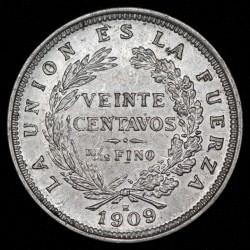 Bolivia 20 Centavos 1909 H KM176 Ag EXC