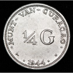 Curacao 1/4 Gulden 1944D KM44 Ag EXC