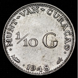Curacao 1/10 Gulden 1948 KM48 Ag EXC