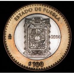 Mexico 100 Pesos Puebla 2004 KM738 Ag EXC+