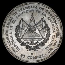 El Salvador 25 Colones 1977 KM151 Ag EXC