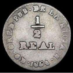 La Rioja 1/2 Real 1854 A1 R1 CJ69 Ag B-