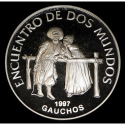 Uruguay 250 Pesos 1997 Gauchos 3ª Serie Iberoamericana KM114 Ag Proof UNC