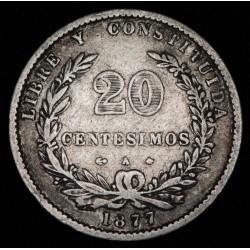 Uruguay 20 Centesimos 1877 A KM15 Ag MB