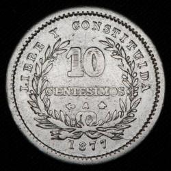 Uruguay 10 Centesimos 1877 A KM14 Ag MB+