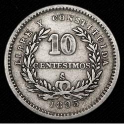 Uruguay 10 Centesimos 1893 So KM14 Ag MB