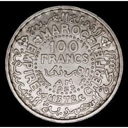 Marruecos 100 Francs 1953 KMY52 Ag EXC+