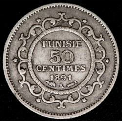 Tunez 50 Centimes 1891A KM223 Ag MB+