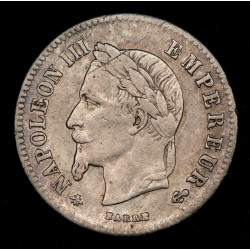 Francia 20 Centimes 1866 A KM805.1 Ag MB+