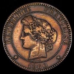 Francia 10 Centimos 1880 A KM815.1 Cobre MB/EXC