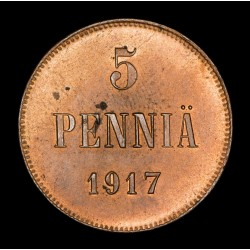 Finlandia 5 Pennia 1917 KM17 Cobre EXC+