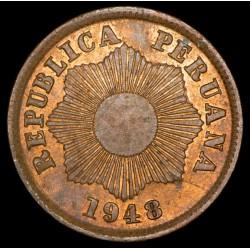 Peru 1 Centavo 1948 KM211a Cobre EXC+