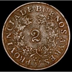 Buenos Aires 2 Reales 1853 A5 - R5 CJ18.4.5 Cobre MB/MB+