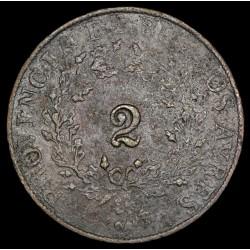 Buenos Aires 2 Reales 1854 A2 - R3 CJ19.1.2 Cobre B+