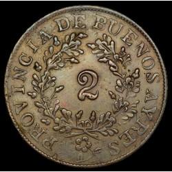 Foto de Catalogo Buenos Aires 2 Reales 1854 A1 - R2 CJ19.3.1 Cobre EXC-