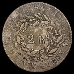 Buenos Aires 2 Reales 1860 A2 - R2 CJ23.3.2 Cobre MB+