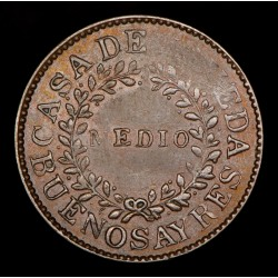 Buenos Aires 1/2 Real 1840 A1 - R2 CJ17.1.2 Cobre MB+