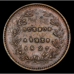 Foto de Catalogo Buenos Aires 5/10 1827 A7 - R6 CJ9.1.9 Acuñada Sobre Decimos Cobre EXC-