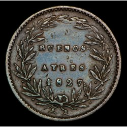 Foto de Catalogo Buenos Aires 5/10 1827 A10 - R10 CJ9.1.15 Acuñada Sobre Decimos Cobre EXC-