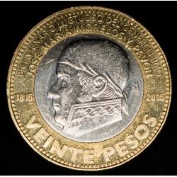 Mexico 20 Pesos J.M Morelos y Pavon 2015 KM987 Bimetalica UNC
