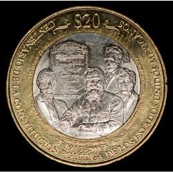 Mexico 20 Pesos Centenario Constitucion Mexicana 2017 KM989 Bimetalica EXC+