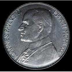 Vaticano 100 Liras 1980 KM146 Juan Pablo II Acero UNC