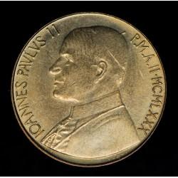 Vaticano 200 Liras 1980 KM147 Juan Pablo II Bronce UNC